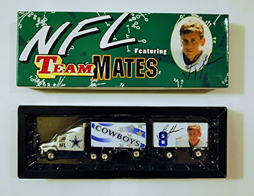 Dallas Cowboys Troy Aikman NFL Diecast 1998 Fleer Tractor Trailer Football Teammates Series 1 Truck White Rose Collectible Car (Troy Built Models compare prices)