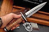 CFK Cutlery Company Custom Handmade Hammered BRITISH COMMANDO II D2 Tool Steel Tactical Combat Dagger Knife with Leather Sheath & Fire Starter Rod CFK83