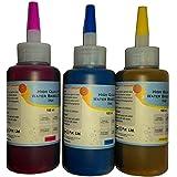 FLOWJET Universal Colour DYE Ink Bottles For HP - 100ml X 3 Bottles (Cyan, Magenta, Yellow)