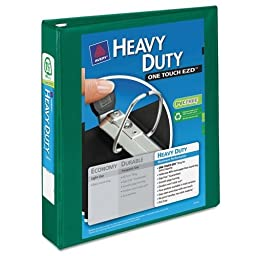 Avery Heavy-Duty 1.5quot; View Binder with One Touch EZD Rings, Green