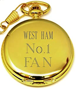 PERSONALISED GOLD WEST HAM POCKET WATCH PW95 CAN BE PERSONALISED ENGRAVED FREE