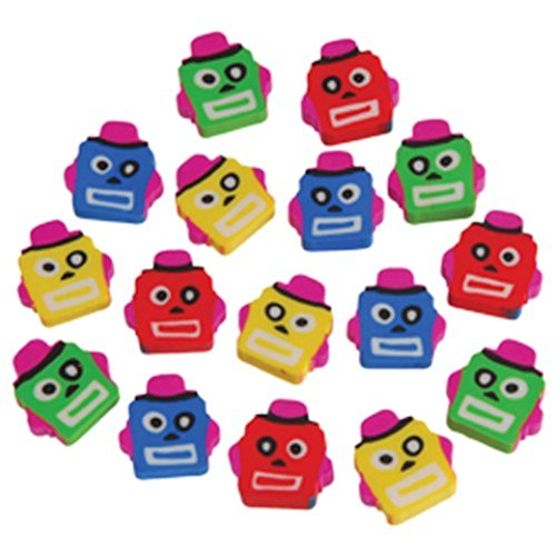 Lot Of 144 Assorted Mini Robot Theme Erasers
