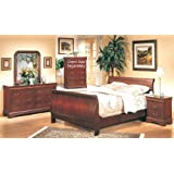 5PC Cherry Finish Hardwood Eastern King Size Sleigh Bed Complete Bedroom Set