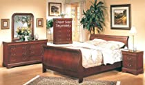 Hot Sale 5PC Cherry Finish Hardwood Eastern King Size Sleigh Bed Complete Bedroom Set