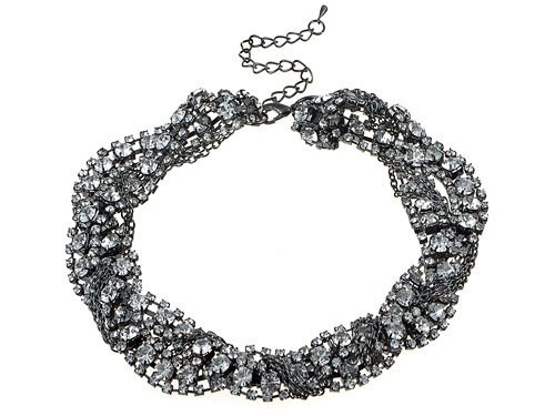 Statement Gunmetal Tone Crystal Rhinestone Twist Infinity Braid Choker Necklace