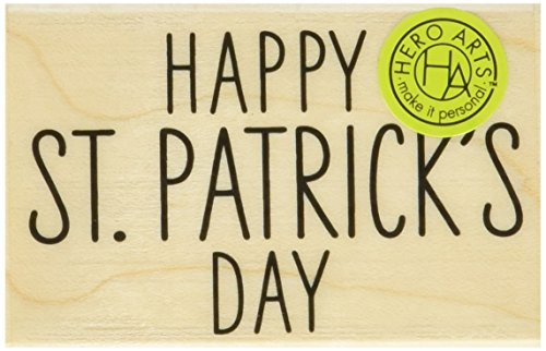 "Hero Arts Happy St. Patrick's Day Mounted Rubber Stamp, 2.25"" by 1.5"""