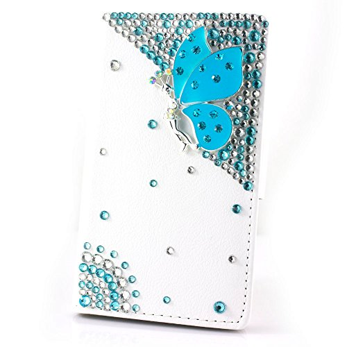 HTC one M9+ [HTC Hima Ultra,HTC Hima Ace Plus,M9pt] case 3D bling leather crystal diamond wallet Credit card stand Case For HTC one M9+ phone(Blue butterfly angle) (Htc Hima Ace Plus Case compare prices)