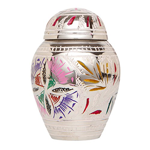 Keepsake Funeral Urn by Liliane - Cremation Urn for Human Ashes - Hand Made in Brass and Hand Engraved - Fits a Small Amount of Cremated Remains - Display Burial Urn at Home or in Niche at Columbarium - Florale Model (Lattice Flower, Keepsake) (Urn For Human Ashes Small compare prices)