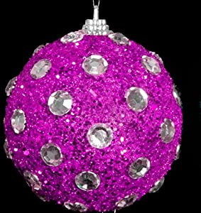 10cm Gorgeous Christmas Tree Decoration - Pink Glittery Hanging Bauble (DP34) A