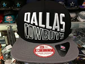 Dallas Cowboys WORD SPLIT SNAPBACK A-Frame 9Fifty New Era NFL Hat = Black Gray =Med... by New Era