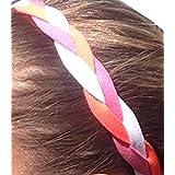 It S Ridic No Slip Grip Non-Slip Sports Athletic Nylon Triple Braided Sports Headband White | Pink | Pink