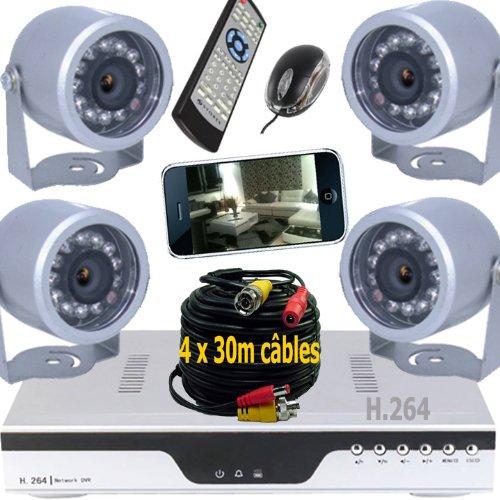 kit 4 camera surveillance pas cher. Black Bedroom Furniture Sets. Home Design Ideas