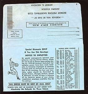 1959 1960 NBA Basketball Detroit Pistons Ticket Envelope - NBA Basketball Tickets by Sports Memorabilia