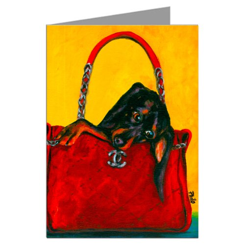 Dachshund in a Coco Chanel Handbag Greeting Card Set