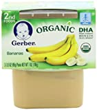 Gerber 2nd Foods Organic Bananas, 2-Count, 3.5-Ounce Tubs (Pack of 8)
