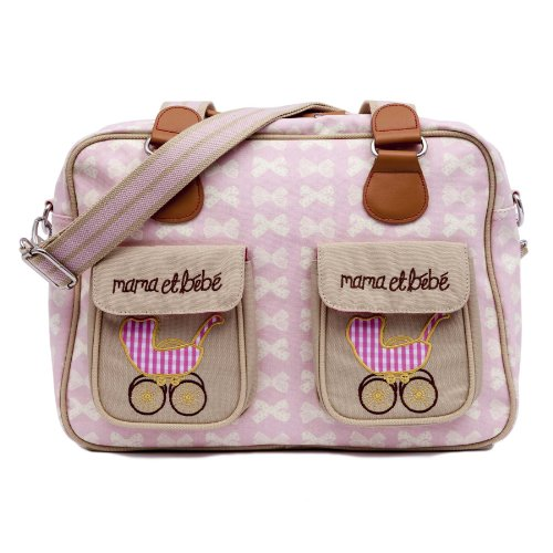 Pink Lining Mama Et Bebe Nappy Bag, Cream Bows On Pink