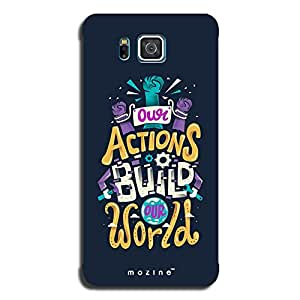 Mozine Actions Build World printed mobile back cover for Samsung alpha