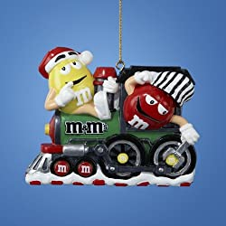 "4"" Candy Fantasy Yellow and Red M&M's Fixing Train Christmas Ornament"