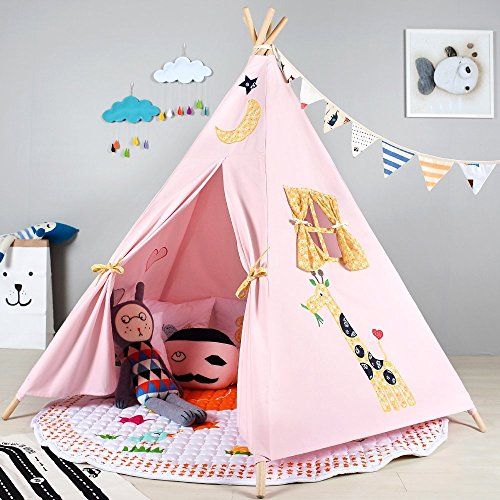 childrens-premium-quality-canvas-teepee-kids-play-tent-playhouse-wigwam-tipi-by-integrity-co-pink