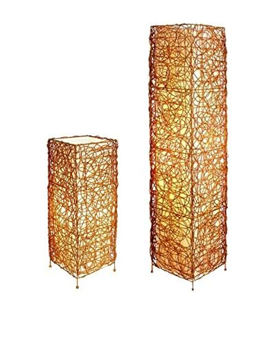 ORE International Rectangle Rattan 1-Light Table & Floor Lamp Set, Brown