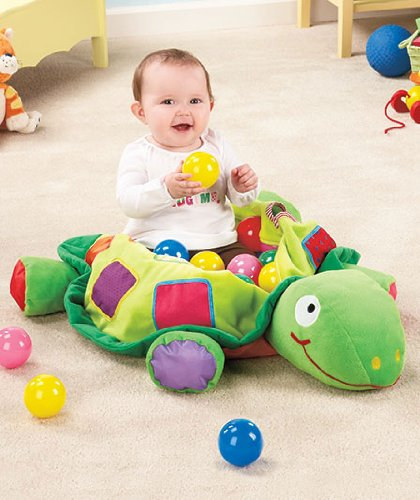 Plush Turtle Ball Pit with 25 Colored Play Balls - 1