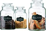 Set of 3 Clear Glass Round Chalkboard Canister Jars with Tight Lids for Kitchen or Bathroom ~ Food Storage Containers