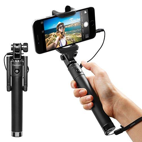 Spigen 自撮り棒, S520W 90日間の安心保証 [ スマホ 自撮り セルカ棒 有線タイプ 手元シャッターボタン付き ] iPhone SE / 6 / Plus / 6S / Galaxy S7 Edge / S7 / Xperia Z5 / Z4 / Nexus 5X / 6P iPhone / Android 対応 (ブラックSGP11799)