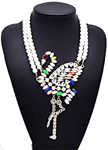 Girl Era Womens Two Strands Crystal Swan Big White Pearl Jewelry Unique Pendant Necklace