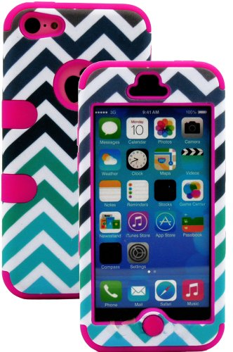Mylife (Tm) Hot Pink + Colorful Chevron Print 3 Layer (Hybrid Flex Gel) Grip Case For New Apple Iphone 5C Touch Phone (External 2 Piece Full Body Defender Armor Rubberized Shell + Internal Gel Fit Silicone Flex Protector + Lifetime Waranty + Sealed Inside