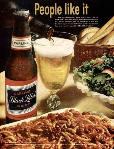spaghetti-dinner-in-1964-carling-black-label-beer-ad-original-paper-ephemera-authentic-vintage-print