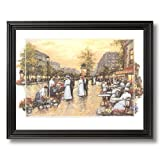Victorian Paris Cafe Terrace Contemporary Picture Black Framed Art Print