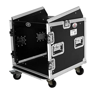 ProX Cases T-10MRSS 10 Space Amp Rack 10U Slanted Top DJ Mixer Combo Rack Road Gig Ready Flight Case