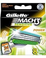 Gillette Lames de rasoir MACH3 Power Sensitive - Pack de 8 recharges