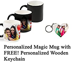 Personalized Color Changing Magic Photo Mug with FREE! Wooden Keychain - Customize both with Your Own Photos & Texts