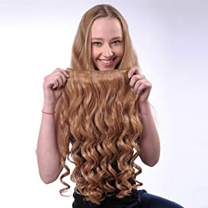60cm Gorgeous Long Curly Clip in Hair Extensions Fashion Flaxen Full Head Clip-on Hairpieces