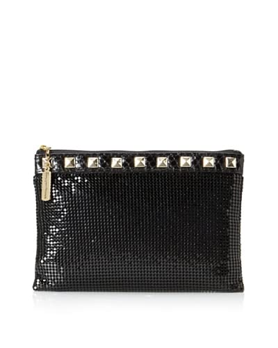 Whiting & Davis Women's Studs & Snake Clutch  [Black]