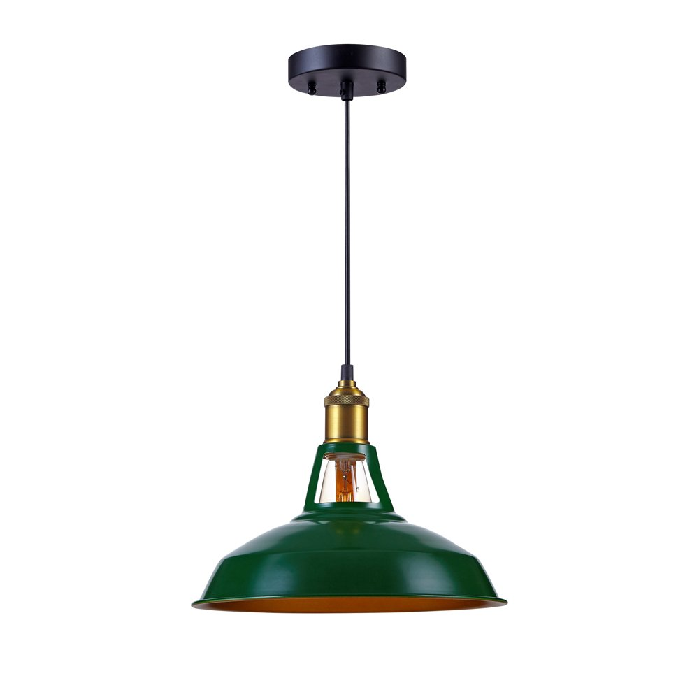 Kiven Industrial Barn Pendant Light Vintage Green Retro Hanging Light Warehouse Lighting Pendant Lighting For Kitchen Island 0