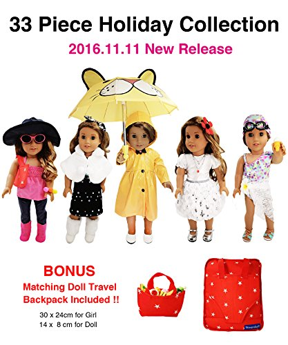 33 Piece Holiday Collection for American Girl Doll - 18 inch Doll Clothes Doll Accessories Set Fits American Girl, Our Generation, Journey Girls Dolls by WEARDOLL