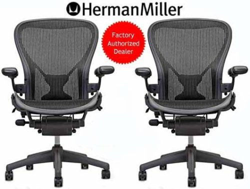 TWO - Herman Miller Aeron Chair Medium Size (B) PostureFit Support Graphite Classic Carbon Pellicle