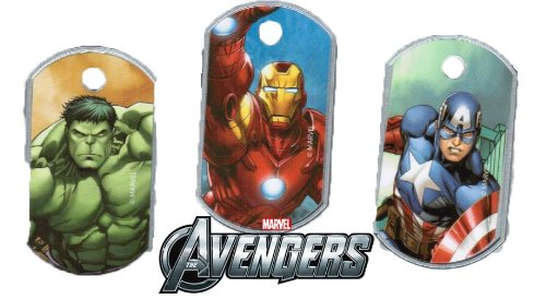 Marvel Avengers Dog Tags Set: The Hulk, Iron Man, and Captain America