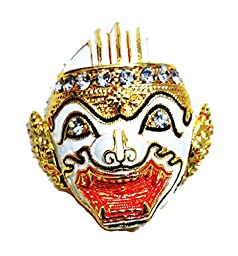 Thai Khon Head Ancient Gold Tone White Enamel Rhinestone Brooch Pin Ornament