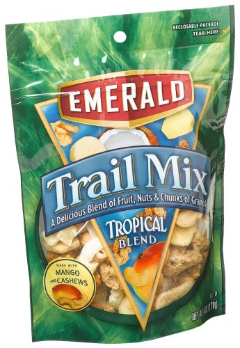 Emerald Tropical Blend Premium Trail Mix, 6-Ounce Pouches (Pack of 6)