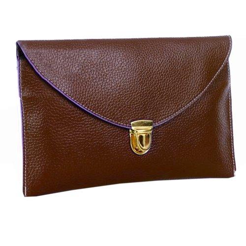 Zeagoo Women'S Golden Chain Envelope Purse Clutch Synthetic Leather Handbag Shoulder Bag Dark Brown