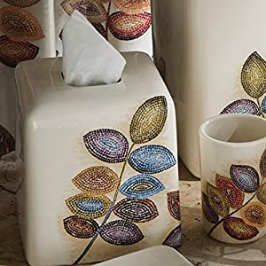 Mosaic Leaves Tissue Cover by Croscill