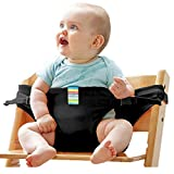 The Washable Portable Travel High Chair Booster Baby Seat with straps Toddler Safety Harness Baby feeding the strap (6 Color) (Black)