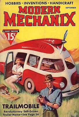 1937 Modern Mechanix September - Palomar Telescope; Motor Scooters; Trailer Home