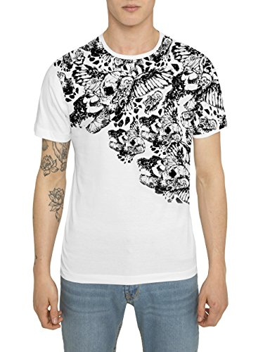 Da Uomo Designer Fashion Rock Crew T Shirt di Cotone - Maglietta con Manica Corta e Girocollo, Nera, Bianca, Grigia -SPARTAN WARRIOR Maglia con Stampa Tattoo - Magliette Moda Urban per Uomo S M L XL XXL