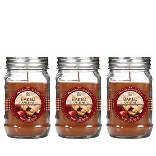Hosley Premium, Set of 3 Baked Apple Jar Candle - 11oz Each. Bulk Buy. Great Gift Weddings, party, aromatherapy, spa, meditation or kitchen