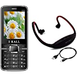 I KALL K35 Black Dual Sim Mobile With Neckband