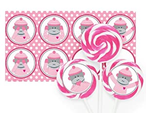 Sock Monkey Pink Large Lollipop Kit